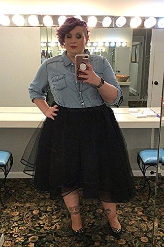 Izanoy Damen Vintage 1950er Rockabilly Tutu Kleid Petticoat Unterrock für Balletttanz Fuchsie