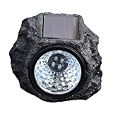 #7: Ascension ® Solar Rock Stone Lamp 4LED Decorative Landscape Path Light Waterproof Resin Rock Shape Night Lamp for Outdoor Garden Yard Lawn Pathway (Pack of 1)
