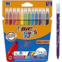 BIC Ecriture Kids Kid Couleur Feutres de Coloriage à Pointe Moyenne - Couleurs Assorties, Etui Carton de 12
