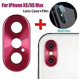 QINPIN Hinterer Kameraobjektiv-Abdeckungsschutz aus Metall + Film für iPhone XS/XS max