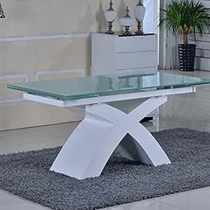 Table en verre blanc à rallonges extensible Xico