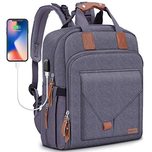 Wickelrucksack Wickeltasche Rucksack als Boostersitz mit Sicherheitsgurte einschließlich USB-Lade Port Multifunktional Große Kapazität Mama-Tasche für Reisen MUBYTREE Verpackung MEHRWEG (Grau)