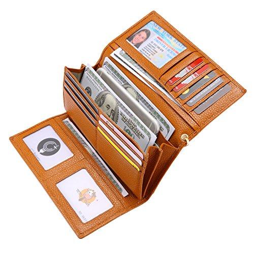 Geldbörse Damen Leder Rfid Geldbörse Brieftasche Lang Handy Geldbeutel Frauen Braun (Brieftasche Handy-braun)