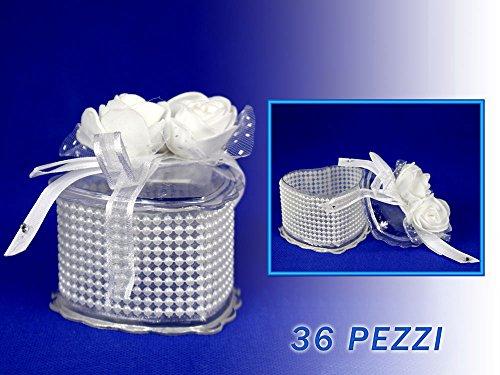 Vetrineinrete scatoline portaconfetti 36 pezzi per matrimonio comunione scatole per confetti bomboniere segnaposto in plastica plexiglass trasparenti decorate a forma di cuore o rotondo (cuore) m27