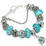 Armband Armreif,Schmuck Geschenk, 925 Fashion Silver Charms Bracelet Bangle for Women Crystal Flower Beads Fit Brand Bracelets Jewelry AE037 18cm