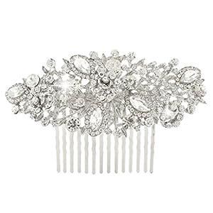 EVER FAITH® Kristall Vintage Inspiriert Blume Braut Haarkamm Haarschmuck Silber-Ton