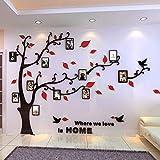 Asvert Stickers Autocollants Muraux 3D en Acrylique Arbre avec des Branches Incurvées et des Cadres de Photo et des Oiseaux (XL, Noir et Rouge vers Droit)