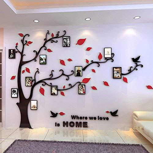 Warmcasa adesivi da parete in acrilico a vita d'albero con cornici per foto di diverse dimensioni adesivi murali nero tronco e rosse foglie a destra l