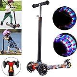 Kinderscooter Dreirad mit verstellbarem Lenker Kinderroller Roller Scooter LED Leuchtenden Blinken für Kinder ab 3 4 5 Jahren, bis 50kg belastbar (Typ2)
