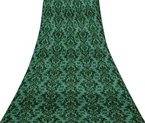 Svasti Vector Design Damast-Weinlese-Silk Sari Light Blue Schneiderei Refurbished Craft Fabric Saree 1 Yard Gebraucht Blue Silk Sari