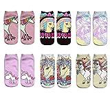 LegendsChan 6 Paar Damen Mädchen Cartoon Einhorn Socken Weich Elastisch Sport Socken Strümpfe Füßlinge Bunt Motiv
