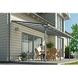 Hochwertige ALU Terrassenüberdachung / Veranda - 420 x 300 (BxT) / Überdachung Palram Feria Grau