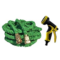 T-Monici Garden Hose,100 Ft,Best Flexible Expandable Retractable Collapsible Shrinking Hoses Strongest Lightweight Solid Brass Fittings,green