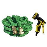 T-Monici Gartenschlauch, 30m, am besten flexibel erweiterbar versenkbare zusammenklappbar schrumpfen Schläuche stärkste Lightweight solide Messingbeschlägen, grüne
