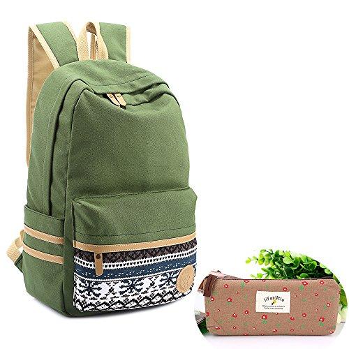 Preisvergleich Produktbild SymbolLife Rucksack damen Herren Teenager Groß Schulrucksack Casual Daypack Backpack Rucksäcke Laptop Rucksack Canvas Reisetasche mit Mäppchen für Universität Outdoor Sport Freizeit 30 X 43 X 14cm