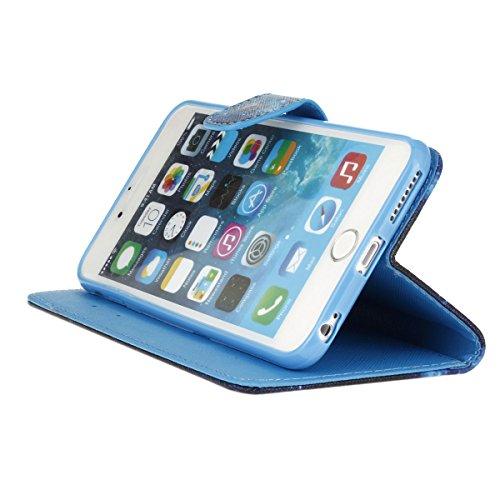 ISAKEN Custodia iPhone 6 Plus, Cover iPhone 6S Plus, Elegante borsa Custodia in Pelle Protettiva Flip Portafoglio Case Cover per Apple iPhone 6 Plus (6 5.5) / con Supporto di Stand / Carte Slot / Chi blu dreamcatcher piuma