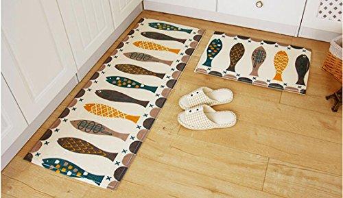Sannix tappeti da cucina lavabile bagno lavabile tappeto moderno tappeto Pad Kids Rug Runners Bathroom Rug Sets coral Fleece Small tappeto, Flanella, fish, 19.69