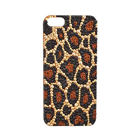 Lux Accessories - Étui Autocollant Pour Portable Iphone 5 5S Tache De Léopard Marron Strass