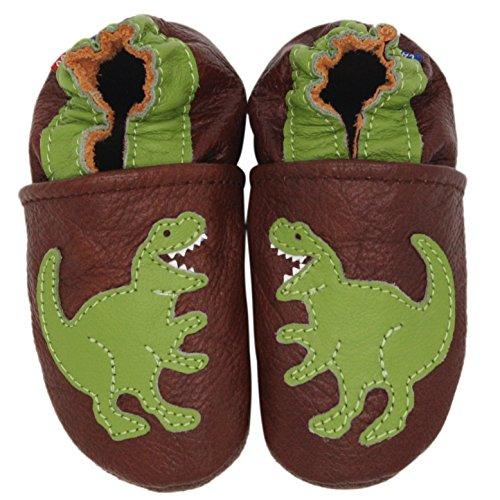 Carozoo Tyrannosaure Brown(T-Rex Brown), Chaussures Bébé Semelle Souple Fille