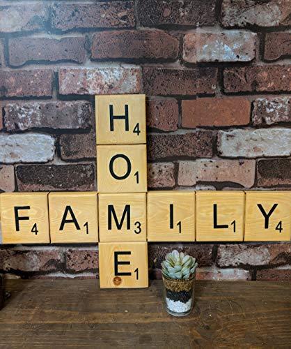 Eli231Abe Letrero de Madera de Scrabble Home Family decoración del hogar, para...
