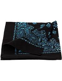 Bandana de qualité supérieure 100% coton, environ 54 x 54 cm foulard zandana écharpe accessoire vêtement vacances d'été printemps, ballade en moto vélo bateau, festivales, camping, choisir:snoir bleu paisley 207