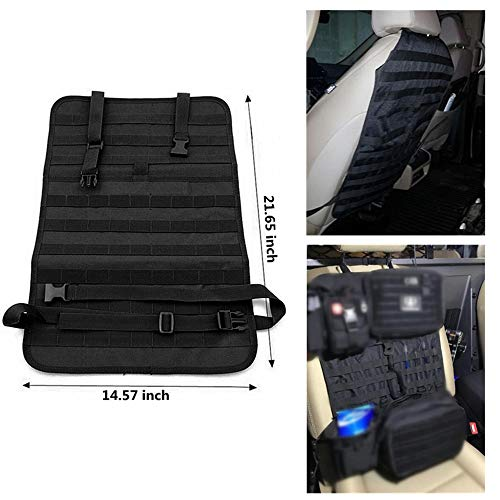 FIRECLUB Car Seat Back Organizer, Tactical MOLLE Vehicle Panel Car Seat Cover Protector Universal Fit (Black) - Panel Protector