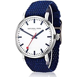 Men Sport Casual Watch with White Dial Nylon Watches Band