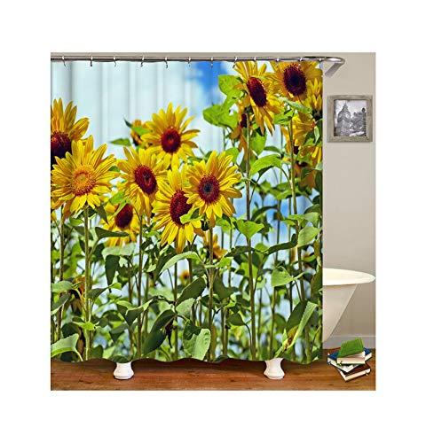 Daesar Bad Vorhang für Badezimmer Sonnenblumen Lustiger Duschvorhang aus Polyester-Stoff 90x180 cm -
