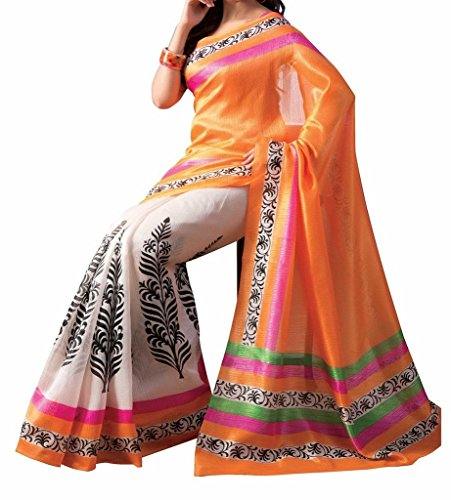 Vedant Poly Silk Saree (Ishin Print_Orange)  available at amazon for Rs.329