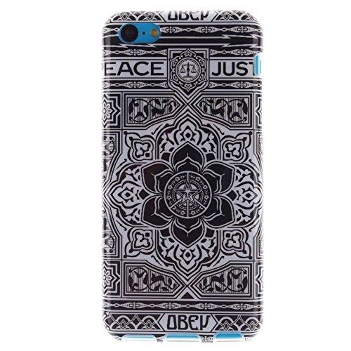 Pour Apple iPhone 5C pouce Cas, MCHSHOP Ultra-mince TPU Silicone Cover souple Phone Housse Coque de protection pour iPhone 5C - 1 gratuit Touch Pen (Tête de Lion) Fleur aztèque tribal