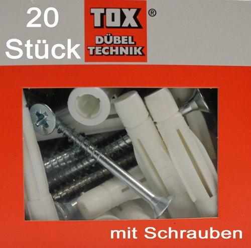 20 Stück TOX Allzweck Dübel TRIKA 10x62, mit Schrauben 6,0x80, TRIKA 10/62 S