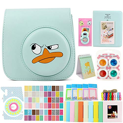 Funnideer 15 in 1 Accessories Bundles for Fujifilm Instax Mini 9 8+ 8 Instant Camera(Mini 9 8+ 8 Case/Color Filters/Selfie Lens/Book&Stand Album/Wall Hanging&Plastic Stand Frame/Camera&Film Corner Sticker)- Duck Ice Blue