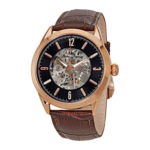 Lucien Piccard Black Skeleton Dial Mens Watch LP-10660A-RG-01-BRW-W