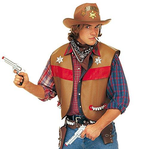 Kostüm Revolverheld Zubehör - Amakando Cowboy Weste Sheriff Outfit M/L 50/52 braun Revolverheld Kostüm Zubehör Wild West Mottoparty Western Oberteil Wilder Westen Party