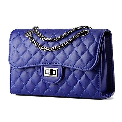 Young & Ming - Donna Borsa a Handbag spalla Borsa Tote Borsa a Mano in pelle di forma del diamante con catena di metallo