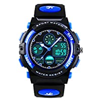 Kids Digital Analogue Watches for Boys - Childrens Outdoor Sports Watch with Alarm/Dual Time/LED Light, 5 ATM Waterproof Electronic Analog Sport Wrist Watches for Teenagers - Blue by VDSOW