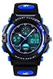 Vdsow Kinder-Armbandunr, Digital, Analog, Uhren für Jungen – Kinder, Outdoor-Sport-Armbanduhr mit Alarm/Dual Time/LED-Licht,5 ATM wasserdicht, elektronisch, Armbanduhr für Jugendliche – Blau