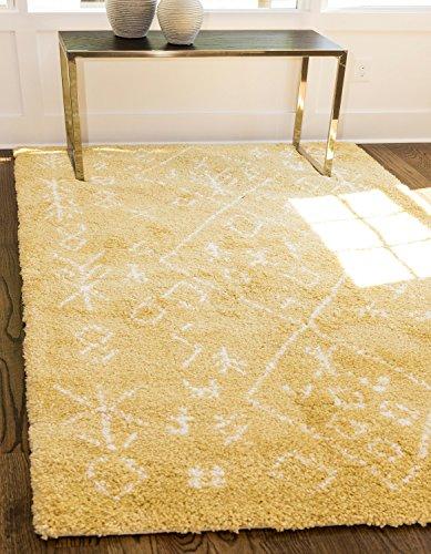 Modern Tribal Plüsch Marrakesch Shag modernes Bereich Teppich, gelb, 8 x 10