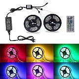 Badalink LED Streifen 10m Strips 5050 RGB 300 SMDs Lichterkette 20 Farben 44-Tasten Fernbedienung Lichtband Farbwechselfähig 12V 5A