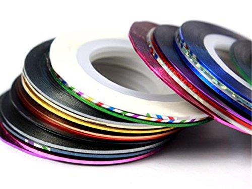 Ularmo 32pcs mixte Couleurs Rolls entrelacement Ruban Ligne Conseils Nail Art Sticker Décoration