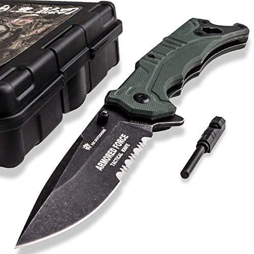 HX OUTDOORS EDC Taschenmesser aus 9Cr14Mov Edelstahl Klinge und G10 Griff Perfekt für Rettung, Selbstverteidigung, Jagd, Überleben Klappmesser, Wandern, Camping, Angeln Companion Messer