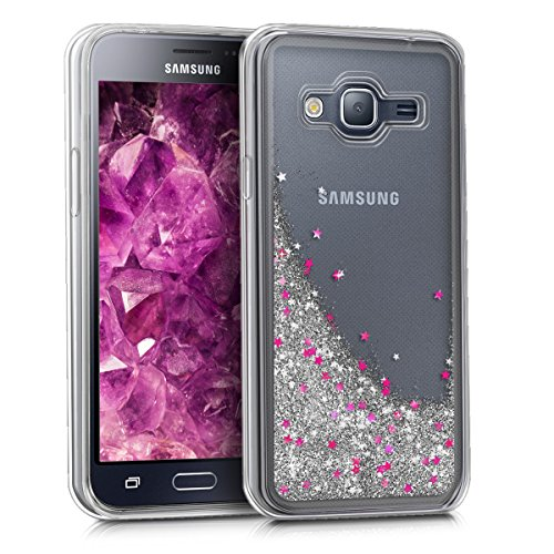 kwmobile Samsung Galaxy J3 (2016) DUOS Hülle - Handyhülle für Samsung Galaxy J3 (2016) DUOS - Handy Case in Silber Pink Transparent