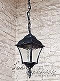 Licht-Erlebnisse Hochwertige Hängeleuchte in antiksilber inkl. 1x 12W E27 LED 230V Pendelleuchte aus Aluminium & Glas Hängelampe für Garten/Terrasse Weg Terrasse Lampen Leuchte außen Beleuchtung