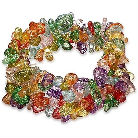 Ametista/turchese/Bracciale cristallo di rocca Chakra guarigione, quarzo Crushed pietre Chunky Stretch Strand