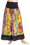 ufash Patchwork Maxirock mit Elastischem Bund, als Rock Oder Kurzes Kleid verwendbar - Goa Gipsy Hippie-Rock, Schwarz 3