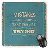 BGLKCS Motivational Mauspads, Vintage Poster Design with Inspirational Wise Quote and Distressed Look, Standard Size Rectangle Non-Slip Rubber Mousepad, Sand Brown Teal