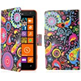 32nd® Design Book PU Leather Wallet Case Cover for Nokia Lumia 800 - Jellyfish