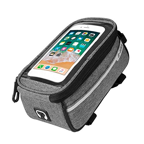 broadroot Wasserdicht MTB Road Bike Front Tube Bag 6in Handy Touchscreen Satteltasche, grau (Bag Road Bike)
