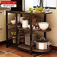 Estante de almacenamiento de cocina de 3 niveles Soporte para horno microondas con 2 marcos metálicos