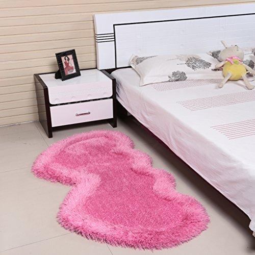 @ HOME & - Herzförmige Hochzeit Teppich vor Bettdecke niedliche Kinderzimmer Schlafzimmer voller Stretch-Seide reine Farbe Teppich